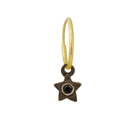 Black Diamond Tiny Center Star Earring-Brevard
