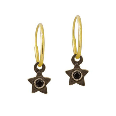 Black Diamond Tiny Center Star • Endless Hoop Charm Earring-Brevard