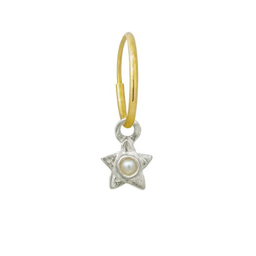 Tiny Center Star with Pearl • Endless Hoop Charm Earring-Brevard