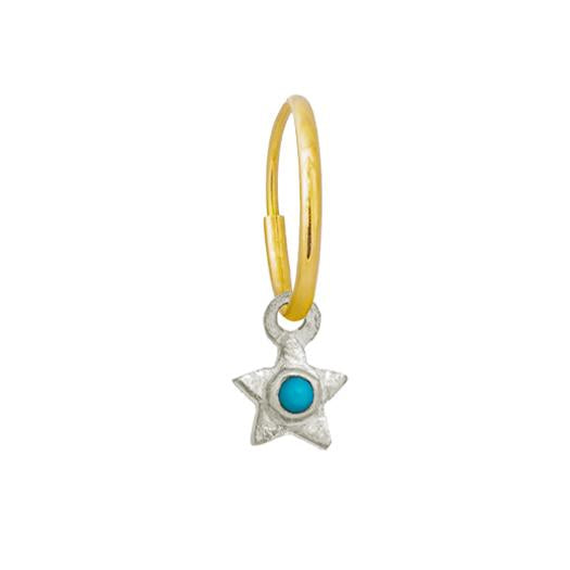 Tiny Center Star with Turquoise • Endless Hoop Charm Earring-Brevard