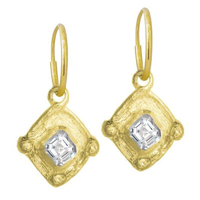 Gold Tiny Checkerboard Earring-Brevard