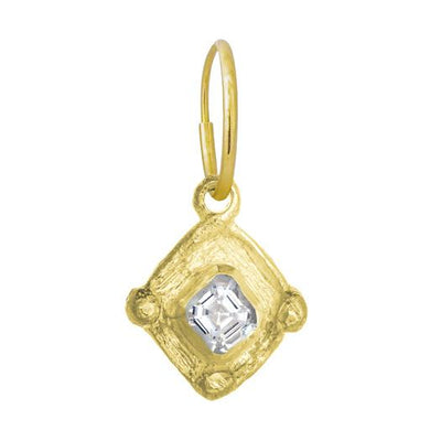 Gold Tiny Checkerboard • Endless Hoop Charm Earring-Brevard