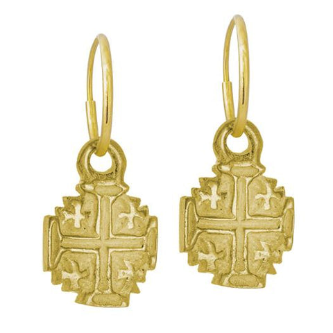 Gold Tiny Cinq Cross Earring-Brevard