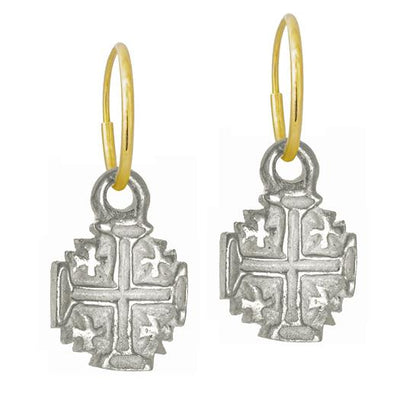 Tiny Cinq Cross • Endless Hoop Charm Earring-Brevard