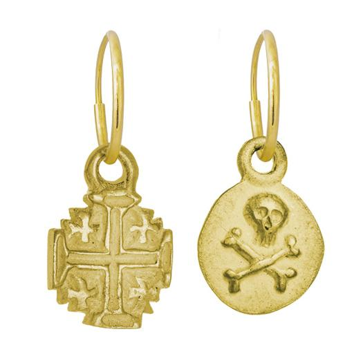 Gold Tiny Cinq Cross + Pirate Coin • MISMATCH ENDLESS HOOP CHARM EARRING PAIR-Brevard