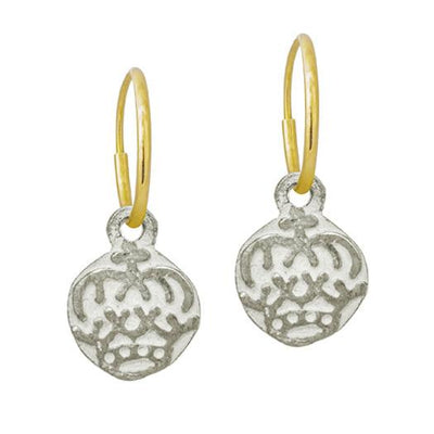 Tiny Reina Coin • Endless Hoop Charm Earring-Brevard