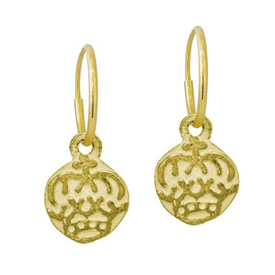Gold Tiny Reina Coin • Endless Hoop Charm Earring-Brevard