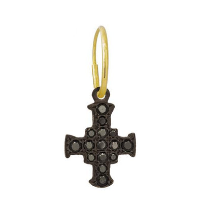 Black Pavé E.T. Cross • Endless Hoop Charm Earring-Brevard