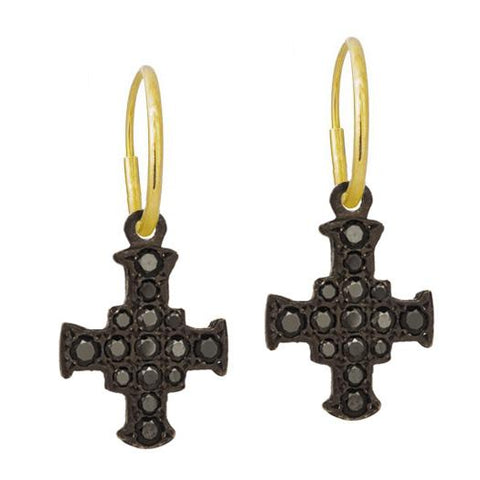 Black Pavé E.T. Cross Earring-Brevard