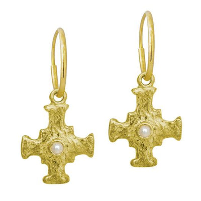 Gold E.T. Cross with Pearl • Endless Hoop Charm Earring-Brevard