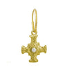 Gold E.T. Cross with Stone • Endless Hoop Charm Earring-Brevard