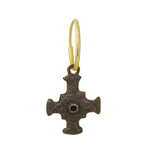 Oxidized E.T. Cross Earring with Black Diamond-Brevard