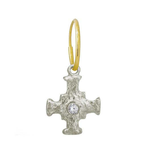 E.T. Cross with Stone • Endless Hoop Charm Earring-Brevard