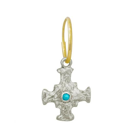 E.T. Cross with Turquoise • Endless Hoop Charm Earring-Brevard
