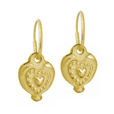Gold Empire Heart • Endless Hoop Charm Earring-Brevard