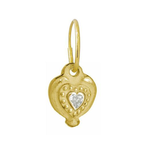 Gold Empire Heart Earring with Stone-Brevard