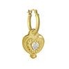 Gold Empire Heart with Stone • Latch Hoop Charm Earring-Brevard