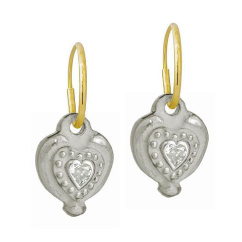 Empire Heart with Stone • Endless Hoop Charm Earring-Brevard