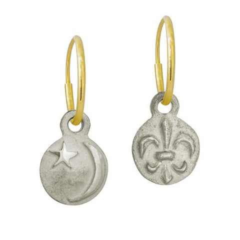 Tiny Star and Cresent + Tiny Fleur de Lis Mismatch Earring Pair-Brevard