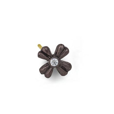 Oxidized Tiny Flower Stud Earring with Stone-Brevard
