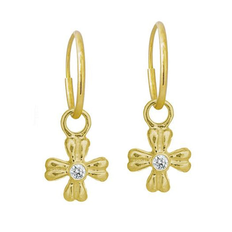 Gold Tiny Flower Earring with Stone-Brevard