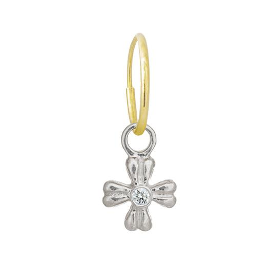 Tiny Flower with Stone • Endless Hoop Charm Earring-Brevard