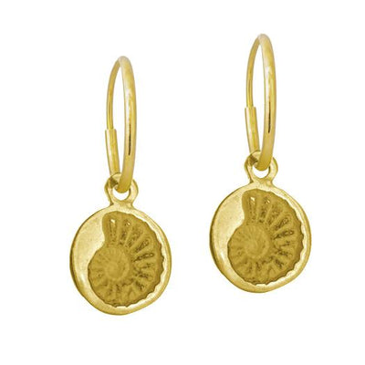 Gold Tiny Fossil • Endless Hoop Charm Earring-Brevard