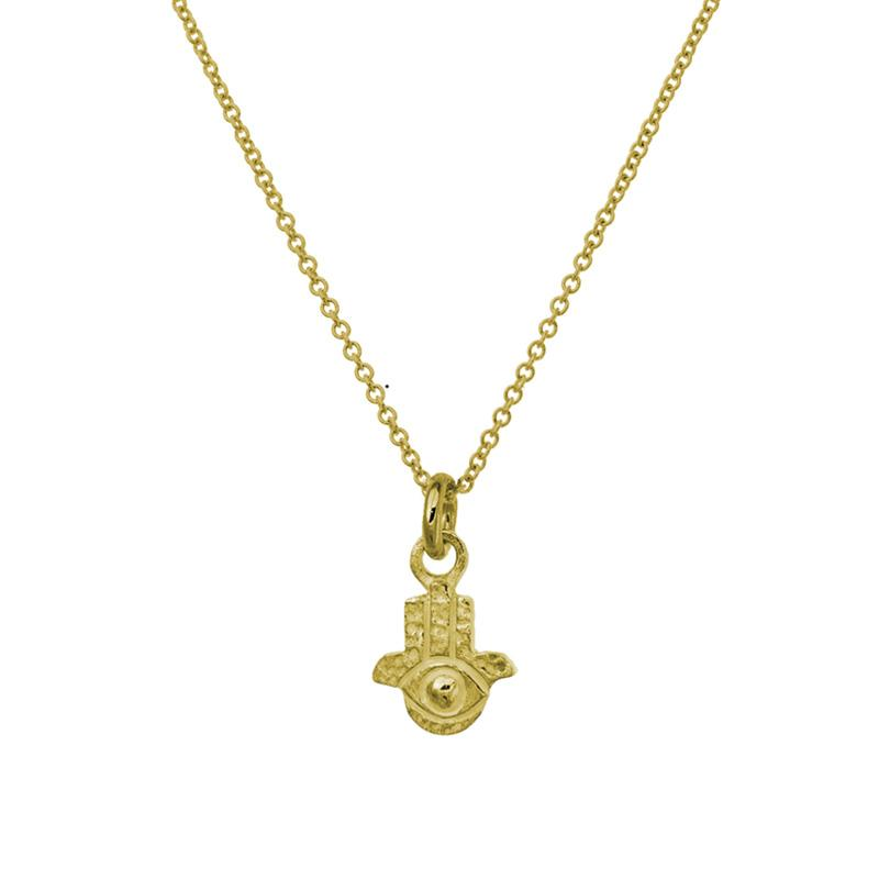 Gold Tiny Hamsa Charm Necklace-Brevard
