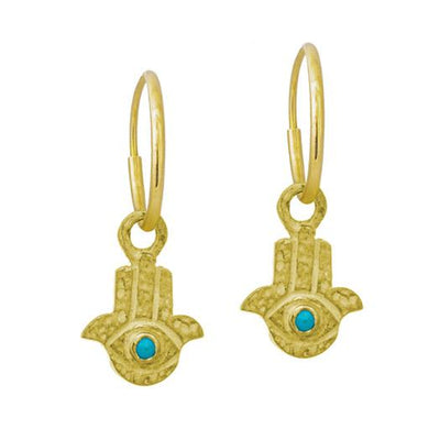 Gold Tiny Hamsa with Turquoise • Endless Hoop Charm Earring-Brevard