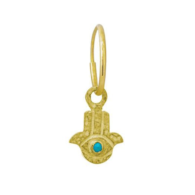 Gold Tiny Hamsa Earring with Turquoise-Brevard