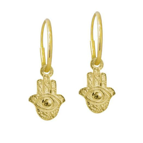 Gold Tiny Hamsa Earring-Brevard