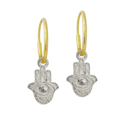 Tiny Hamsa • Endless Hoop Charm Earring-Brevard