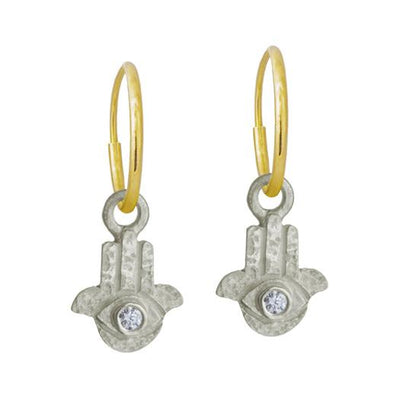Tiny Hamsa with Stone • Endless Hoop Charm Earring-Brevard