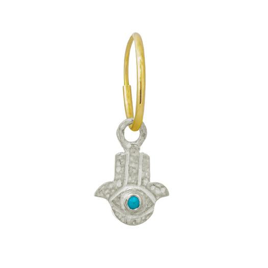 Tiny Hamsa with Turquoise • Endless Hoop Charm Earring-Brevard