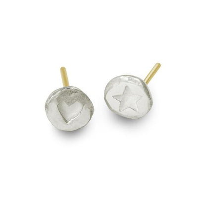 Tiny Heart + Tiny Star • Mismatch Stud Earring Pair-Brevard