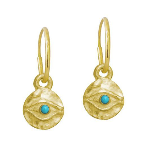 Gold Tiny Horus with Turquoise • Endless Hoop Charm Earring-Brevard