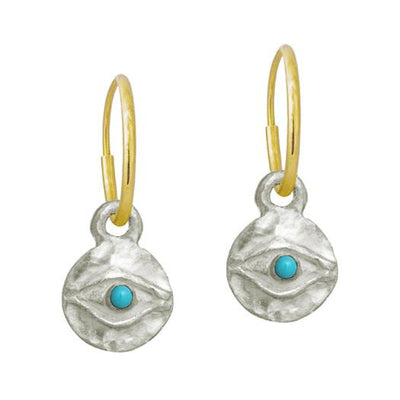 Tiny Horus with Turquoise • Endless Hoop Charm Earring-Brevard
