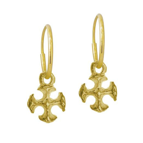 Gold Tiny Lotus Cross Earring-Brevard