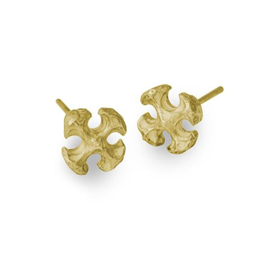 Gold Tiny Lotus Cross Stud Earring-Brevard
