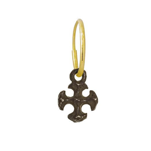 Oxidized Tiny Lotus Cross • Endless Hoop Charm Earring-Brevard