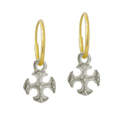 Tiny Lotus Cross • Endless Hoop Charm Earring-Brevard