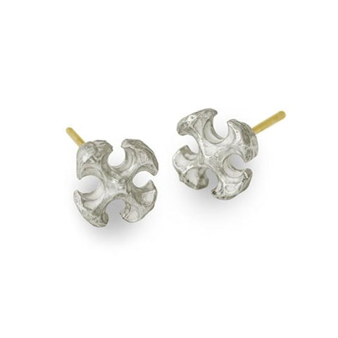 Tiny Lotus Cross Stud Earring-Brevard