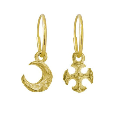 Gold Tiny Lotus Moon + Tiny Lotus Cross Mismatch Earring Pair-Brevard