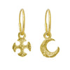 Gold Tiny Lotus Moon + Tiny Lotus Cross • MISMATCH ENDLESS HOOP CHARM EARRING PAIR-Brevard