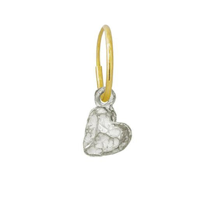 Tiny Lotus Heart • Endless Hoop Charm Earring-Brevard