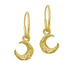 Gold Tiny Lotus Moon • Endless Hoop Charm Earring-Brevard