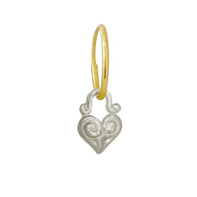 Tiny Maori Heart • Endless Hoop Charm Earring-Brevard
