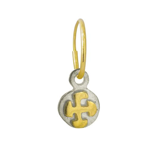 Two-Tone Tiny Marina Cross • Endless Hoop Charm Earring-Brevard