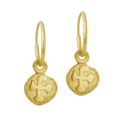Gold Tiny Marina Cross • Endless Hoop Charm Earring-Brevard