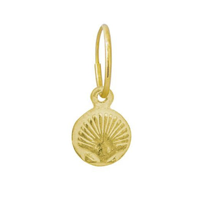 Gold Tiny Marina Shell • Endless Hoop Charm Earring-Brevard